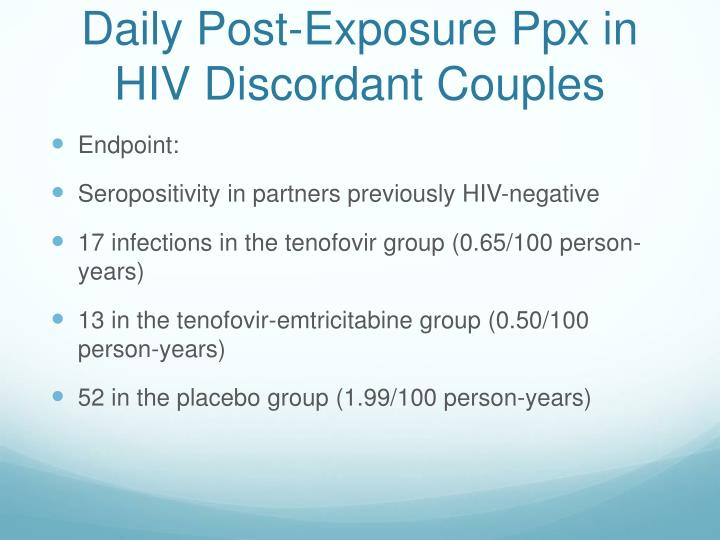 Daily Post-Exposure Ppx in HIV Discordant Couples