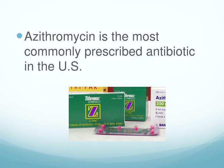 Azithromycin is the most commonly prescribed antibiotic in the U.S.
