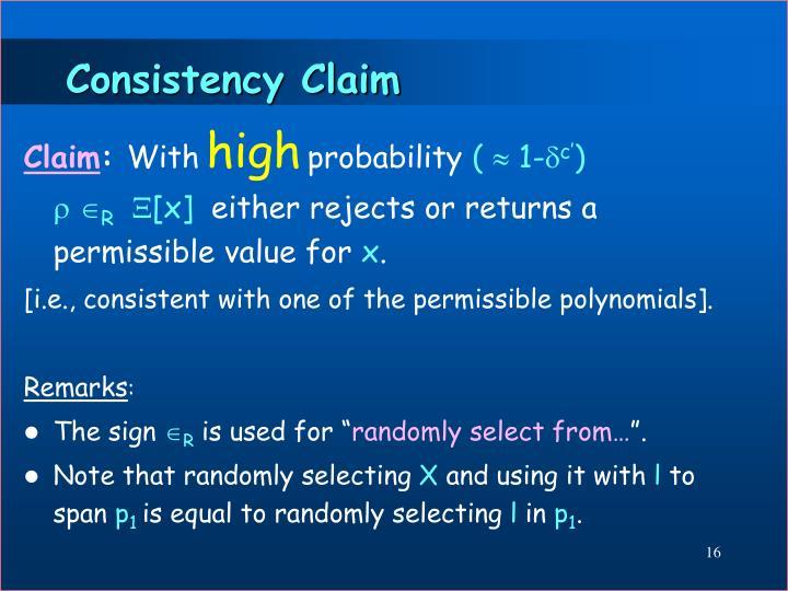 Consistency Claim