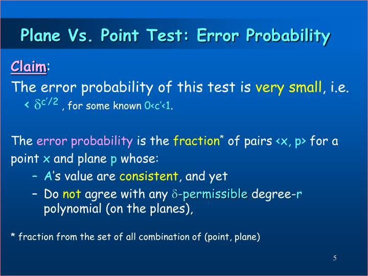 Plane Vs. Point Test: Error Probability