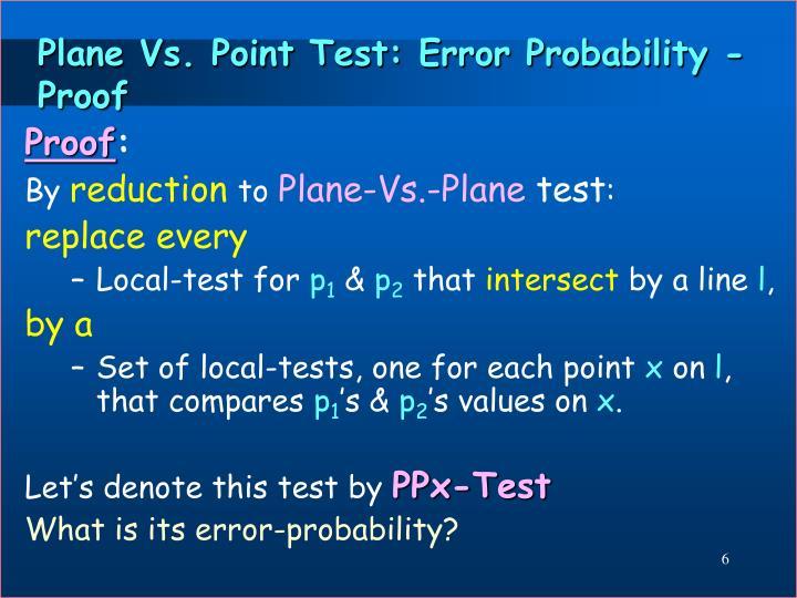 Plane Vs. Point Test: Error Probability - Proof