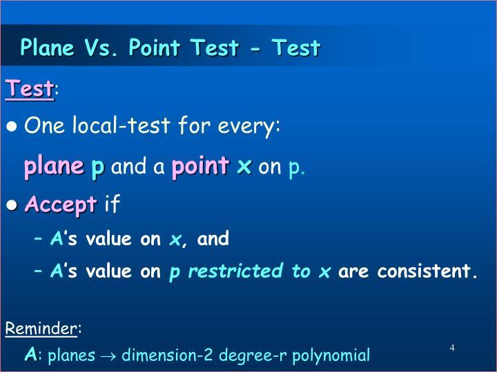 Plane Vs. Point Test - Test