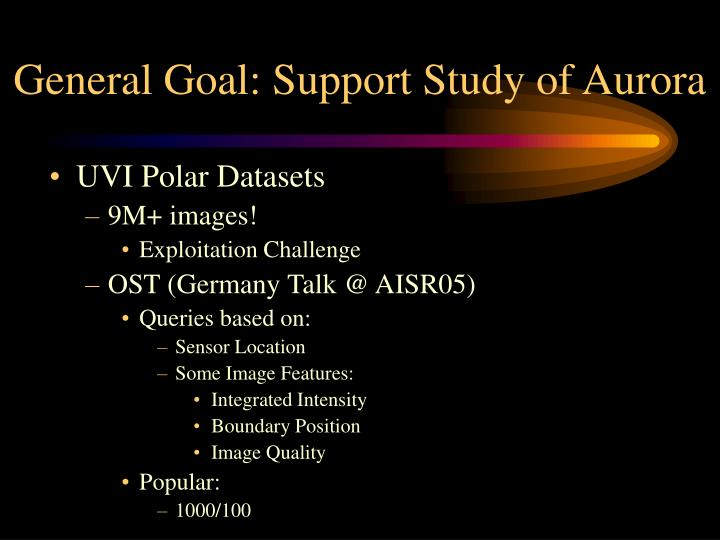 General Goal: Support Study of Aurora