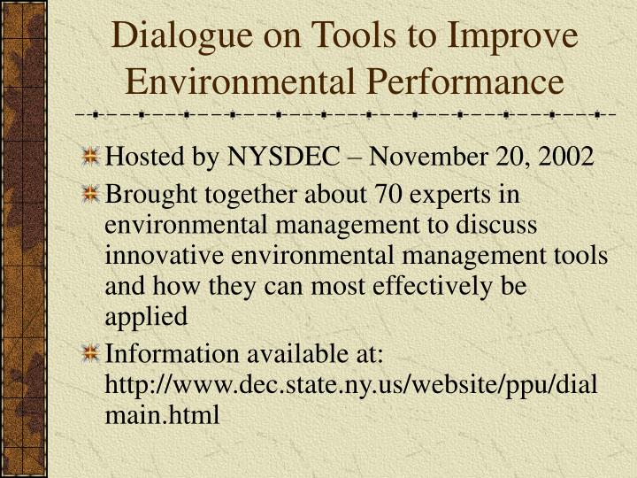 Dialogue on tools to improve environmental performance
