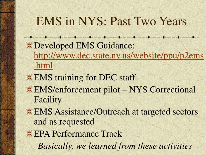 EMS in NYS: Past Two Years