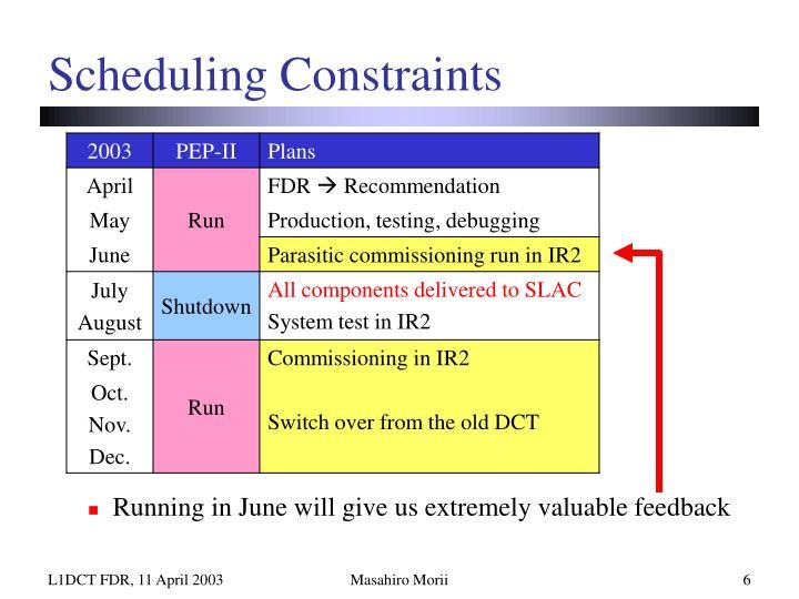 Scheduling Constraints