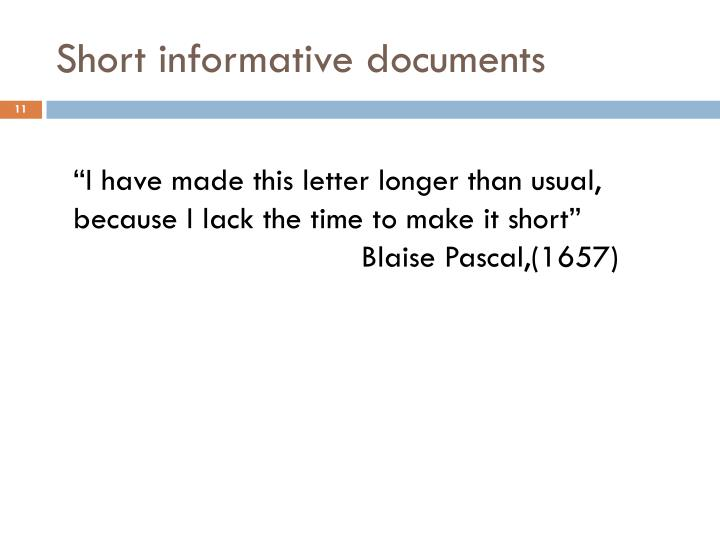 Short informative documents