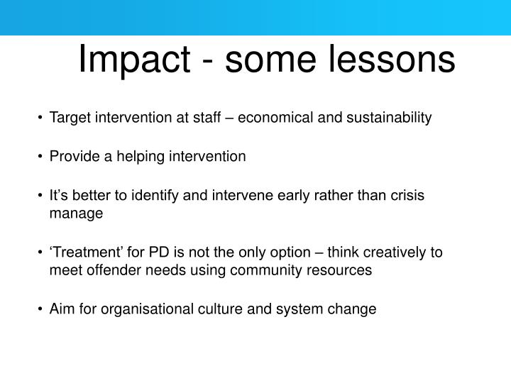 Impact - some lessons