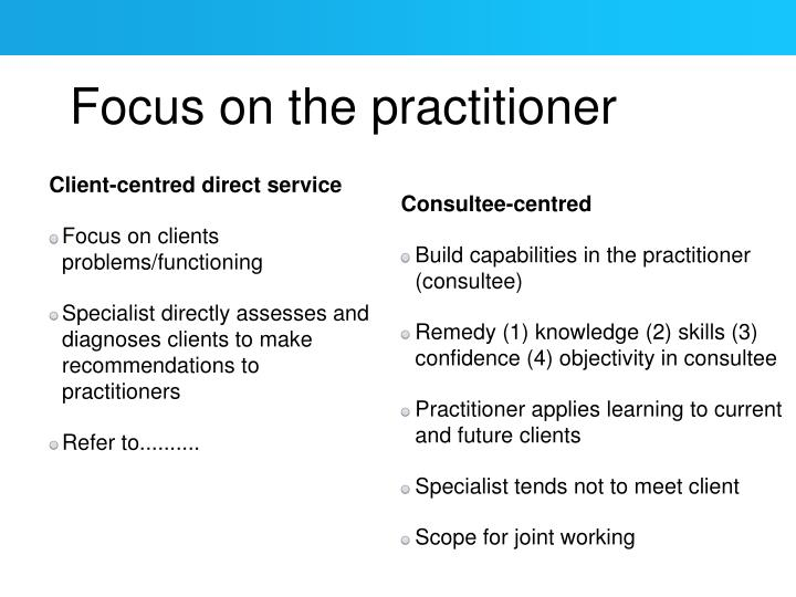 Focus on the practitioner