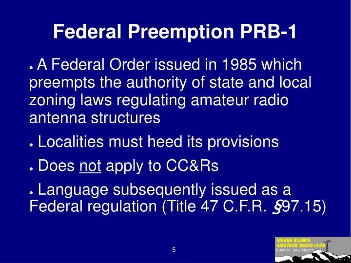 Federal Preemption PRB-1