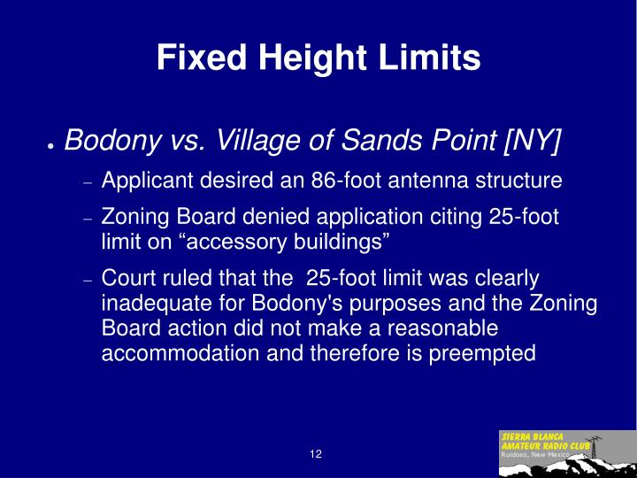 Fixed Height Limits