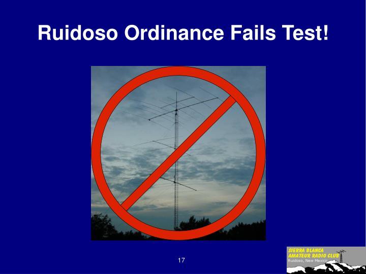 Ruidoso Ordinance Fails Test!