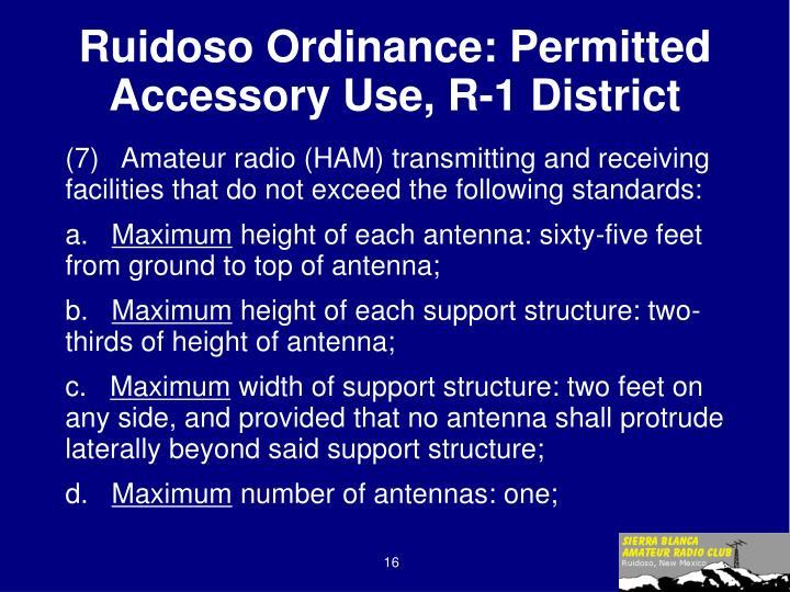 Ruidoso Ordinance: Permitted Accessory Use, R-1 District