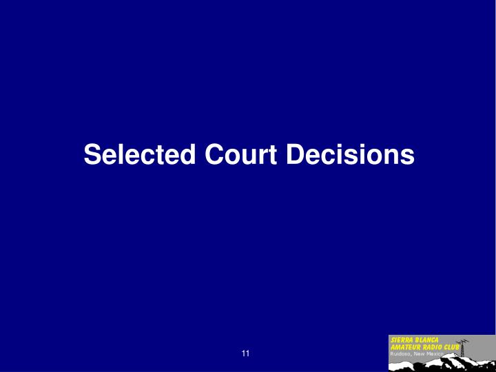 Selected Court Decisions