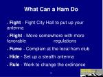 what can a ham do