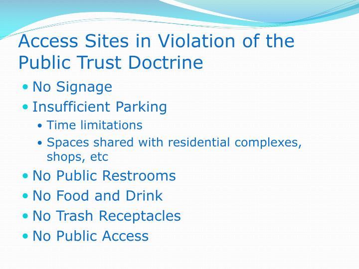 Access Sites in Violation of the Public Trust Doctrine