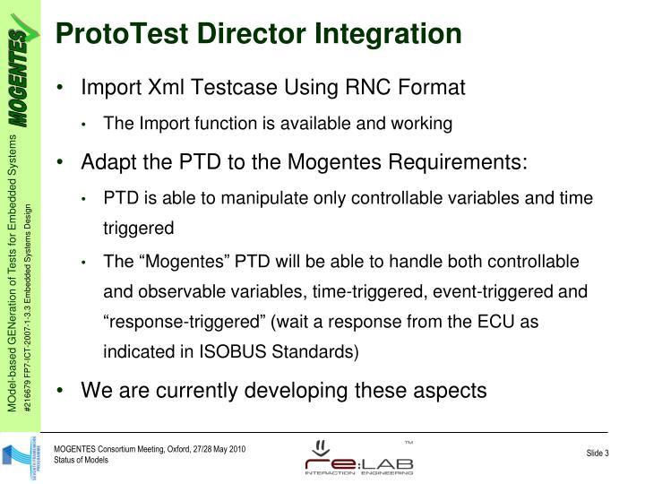 ProtoTest Director Integration
