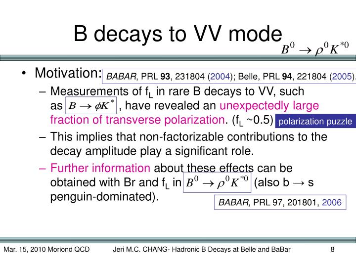 B decays to VV mode