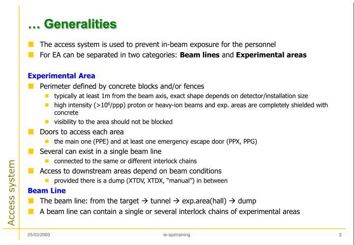 … Generalities