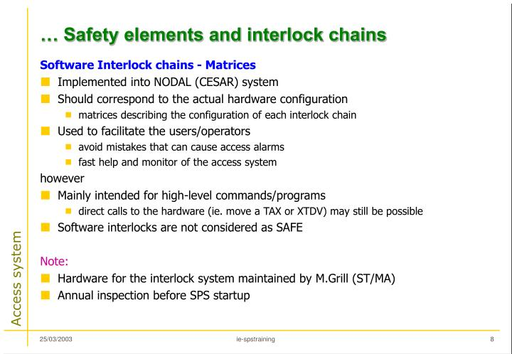 … Safety elements and interlock chains
