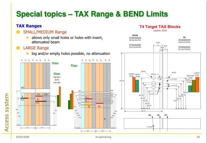 Special topics – TAX Range & BEND Limits