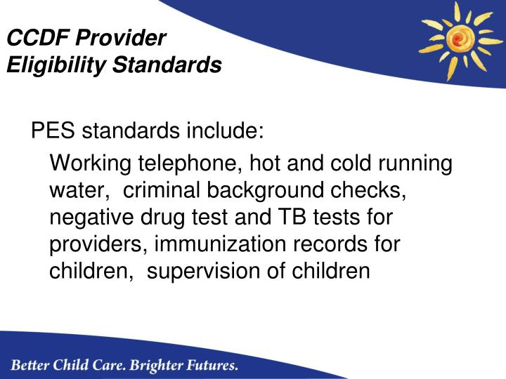 CCDF Provider Eligibility Standards