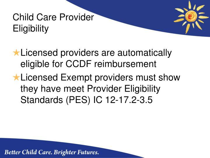 Child Care Provider Eligibility