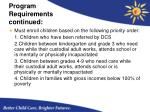 program requirements continued