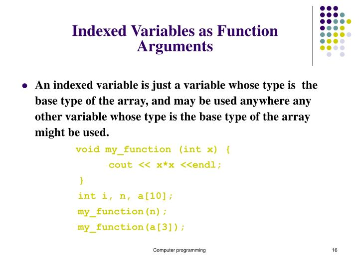 Indexed Variables as Function