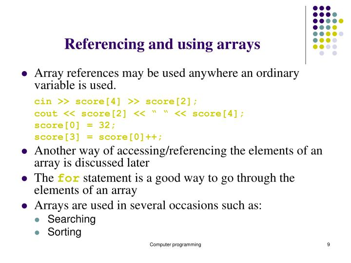 Referencing and using arrays