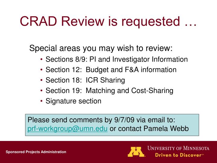 CRAD Review is requested …