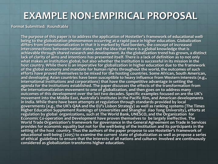 EXAMPLE NON-EMPIRICAL PROPOSAL