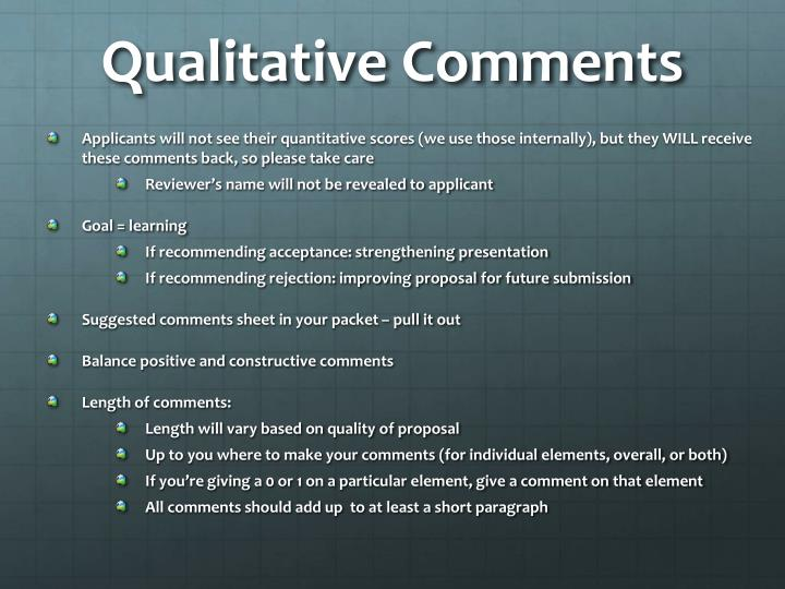 Qualitative Comments