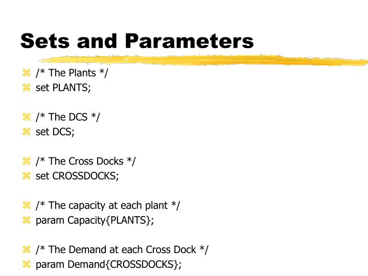 Sets and Parameters
