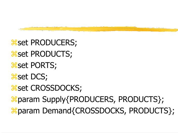 set PRODUCERS;