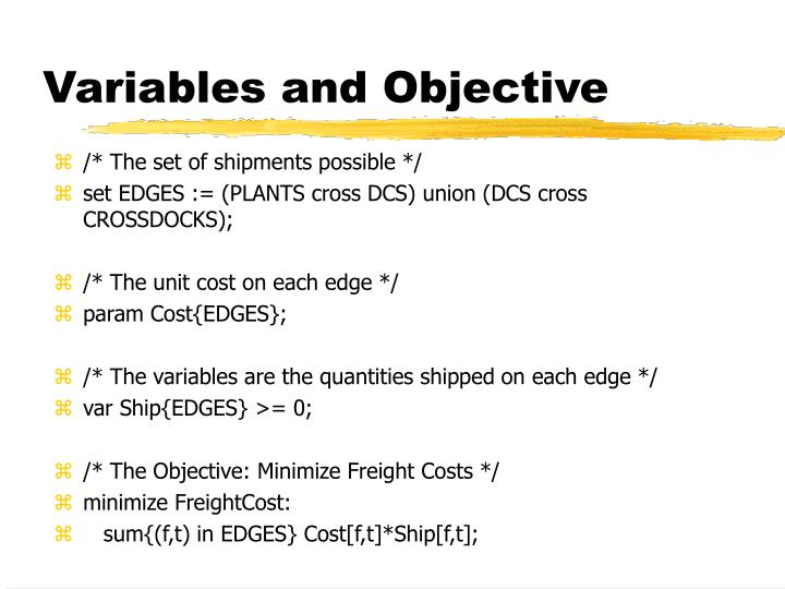 Variables and Objective