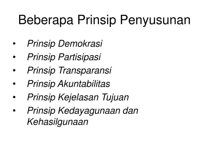 Beberapa Prinsip Penyusunan