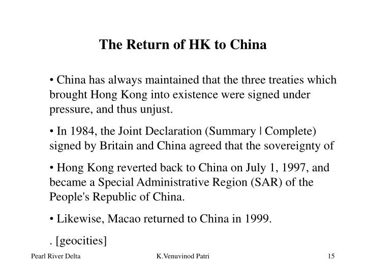 The Return of HK to China