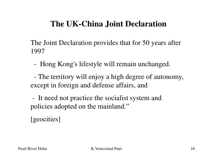 The UK-China Joint Declaration
