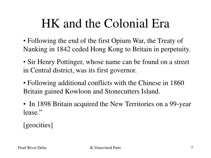 HK and the Colonial Era