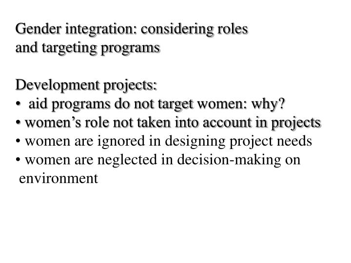 Gender integration: considering roles