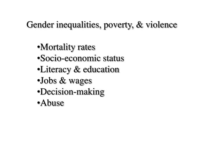 Gender inequalities, poverty, & violence