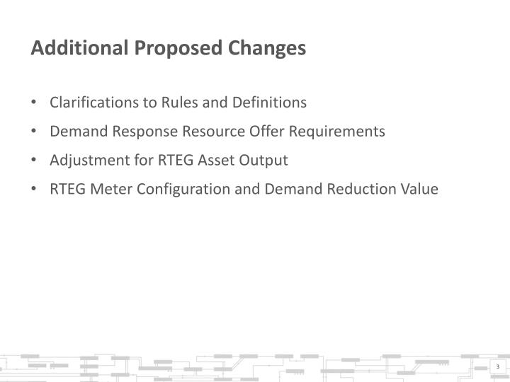 Additional proposed changes