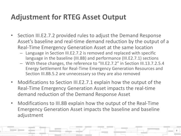 Adjustment for RTEG Asset Output