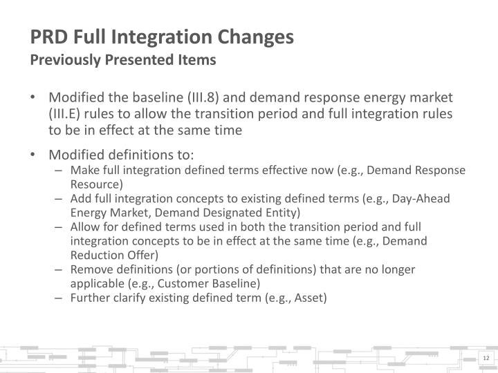 PRD Full Integration Changes