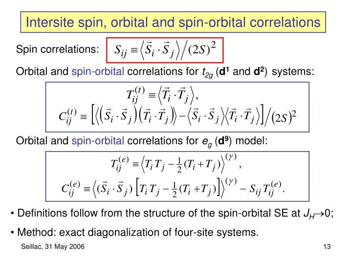 Intersite spin, orbital and spin-orbital correlations