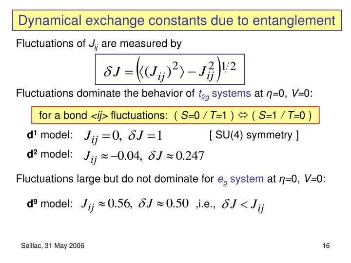 Dynamical exchange constants due to entanglement