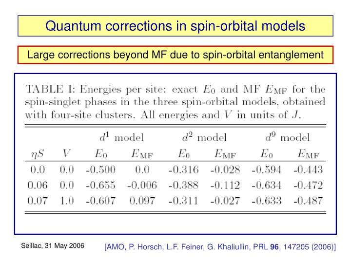Quantum corrections in spin-orbital models