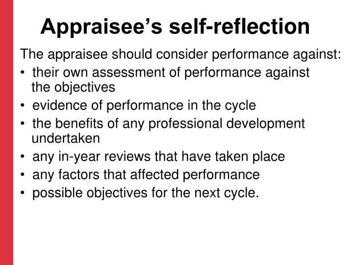 Appraisee's self-reflection