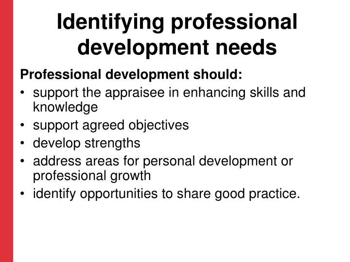 Identifying professional development needs